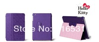 2014 New model hello kitty Noble Leather case cover for Ipad 5 air Purple color