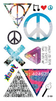 Free shipping anti-war sign tattoo paste color triangular pack of ten