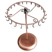 Free Shipping Copper Color Metal Rotating Revolving Necklace Pendant Holder Jewelry Display Stand