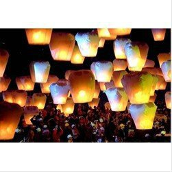 Free Shipping Eco-Friendly 20pcs/lot Chinese Sky Fire Khoom Fay Kong Ming Flying Wishing Lanterns