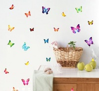 Free shipping, Home Decoration Butterfly Wall Stickers Self-adhesive Daycare/ Kid/ Lady Room 10pcs/lot, Drop shipping, IQ0008