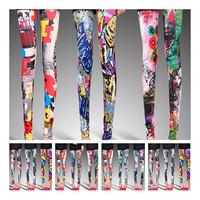 High Waist Patterned Leggings,Kpop Cartoon Printed Mix Colors Leggings For Women 2014 cheap leggings
