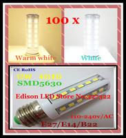 FedEX Free shipping 100 pcs 12W 42 LED 5630 5730 SMD E27 E14 B22 high power LED Corn Bulb Light Lamp LED spotlight Bulb Lighting