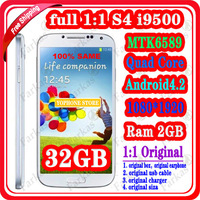 "Full1:1 I9500 Android 4.2.2 Quad core MTK6589 S4 android phone 5.0"" 1920*1080 screen 8MP WIFI with original box,earphone"