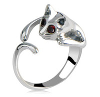 Free Shipping!The New Retro Opening Solid Men and Women Jewelry Cute Little Kitty Cat Ring to Send the Couple the Best Gift