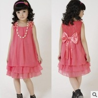 Retail 1 pcs New 2014 summer girls dress children's clothing chiffon princess baby girl dress with pearl necklace CCC131