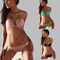 2pcs/ set Hot!! Push UP Halter Solid Bikini Set, Summer Sexy Ladies hot swimwear 3 colors available YY086
