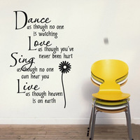 "Free Shipping: Hot Selling Black""Dance Love Sing Live""Wall Stickers English Wall Quotes /Vinyl Wall Home Decor Decals65*105CM"