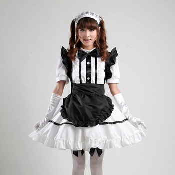 Halloween New cosplay Barbie doll palace costume ruffle sexy servant maid outfits party dress set apron outfit+headband