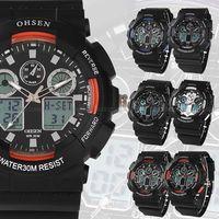 OHSEN Mens Sport Date Alarm Blue Rubber Wrist Quartz WatchDive Watches   Chrisrtmas Gift