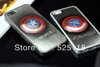 Free Shipping Plated Metal Avengers Superman Batman Embossed Hero Case Cover For iphone5 5G