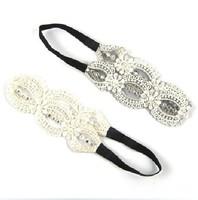 Freeshipping wholesale fashion lace pearl and gems elastic headband hairband hair accessory 12pc/lot