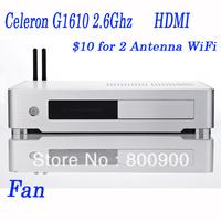 2G RAM 80G HDD or 16G SSD htpc system pre built htpc with Intel Celeron G1610 2.6Ghz CPU 22nm