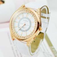 New 2014 Fashion Gold Rhinestone Diamond Dial Leather Watchband Quartz Wrist Watch ladies Free ship