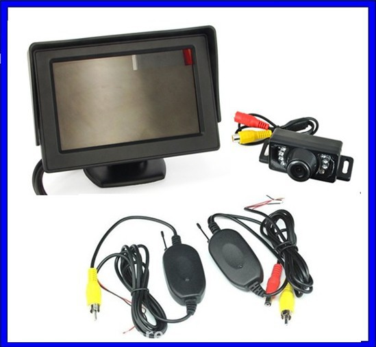 wireless receiving camera +4.3 Inch TFT LCD Car View Monitor Reversing Camera Kit parking sensor car camera(China (Mainland))
