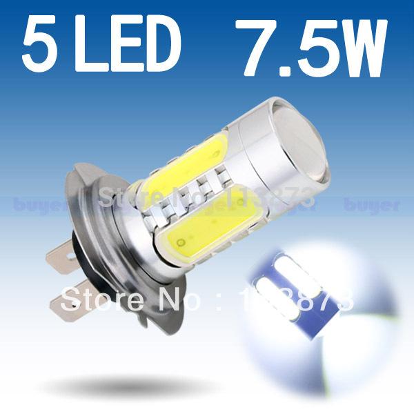 2pcs H7 led High Power 7.5W 5LED Pure White Fog Head Tail Driving Car Light Bulb Lamp V2 12V H7 7.5W parking car light source(China (Mainland))
