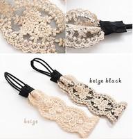 Freeshipping wholesale fashion lace flower elastic headband hairband hair accessory 12pc/lot