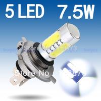 2pcs H4 High Power 7.5W 5 LED Pure White Fog Head Tail Driving Car Light Lamp Bulb V2 12V  parking