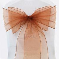 """50 pcs Brown Wedding Sash,Organza Sash, Approximately 7"""" (18cm) W x 108"""" (275cm) L"""