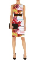 2013 Europe Designer Brand Women Floral Print Pencil Dress Day Dresses Wholesale Drop Shipping DQ164