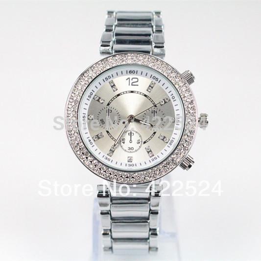 luxury luminous women silver gold diamond watches round stainless steel fashion wristwatches