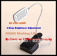 USB 28 LED Reading Lamp /Bedside clip lamp /3-step Brightness adjustment /5000h work life /2W /Energy-saving Lamp Free shipping