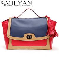 Smilyan 2014 fashion contrast color genuine leather women handbag casual tassel cross body shoulder bag women bags free shipping