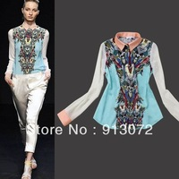 ST493 New fashion womens' Vintage Transformer print chiffion blouse shirt OL work blouse elegant casual slim brand designer tops