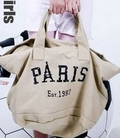 Free Shipping Summer paris 2013 letter one shoulder canvas bag men and women bags