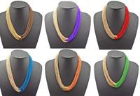Bohemia Multi Strands Chains Boho Choker Bib Necklace Colors Choose 6pieces/Lot mix color