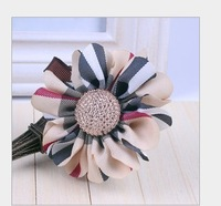 Beige color wholesale 2013 newest british style big flower bobby hair pins plaid cover hair clips barrettes for kids girls