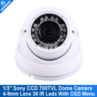 White 1/3'' SONY Effio CCD 700TVL 36IR Varifocal 4-9MM CCTV Security Camera