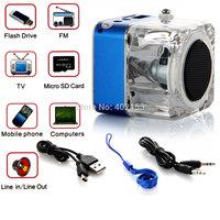 TT-029 Digital Micro SD/TF Music MP3/4 Player USB Dis FM Radio Mini Speaker Blue Wholesale,Free Shipping #160478