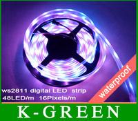 4 Roll WS2812 flexible DMX RGB LED strip light IP65 DMX digital waterproof LED strip 48LED/m 16Pixels/m