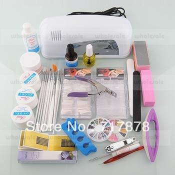 Women Acrylic Powder Liquid Primer UV Nail Art Dust Sticker Brush Tips Kit Set Dryer Free Shipping