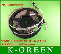 5m WS2811 flexible DMX dream color 5050 LED strip light 48LEDs/m 16Pixels/m non- waterproof  free shipping