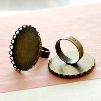 100pcs brass/copper ring base blanks with 30mm Lace Cameo Pad Tray,Antique Bronze Ring base setting,DIY Zakka jewelry Finding