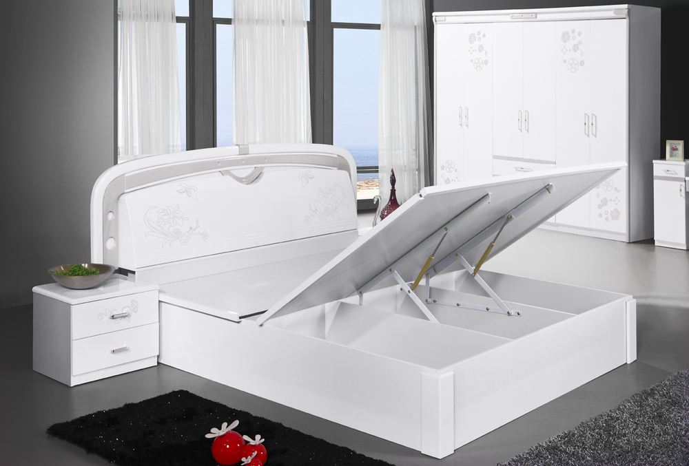 Bright-White 811# 1.8 Metres Double-Bed With Much Storing Space:Modern Style(China (Mainland))