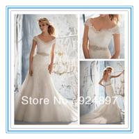Delicate Alencon Lace on Net  Wedding Dress 2013 New Fashion(WDML-1010)