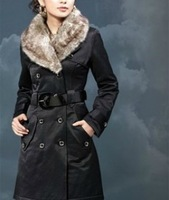 Free shipping winyer leisure double-breasted Faux fur lining women's collar windbreaker long thick medium-long cotton jackets