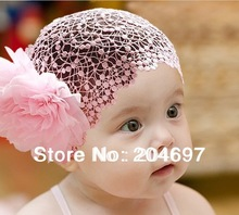 New Hot Selling Pink & Red Wide Lace Headbands with Big Flowers Children's Headwear Toddler Infant Baby Girls Hair Accessories(China (Mainland))