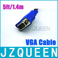 High Quality Blue 5FT 1.4M VGA Cable VGA/SVGA HDB15 Male to Male Extension Monitor Cable free shipping