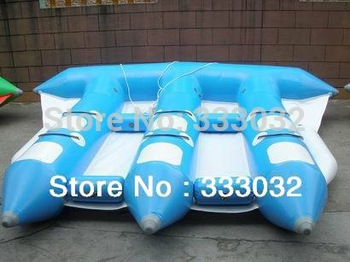 Inflatable water games cool water toys flyfish boat banana boat Plato PVC tarpaulin free express shipping+ free pump(CE/UL)