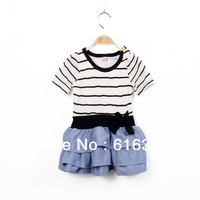 Knitted and woven stitching lace striped dress child dresses Free Shipping