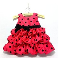 Retail 1 pcs  New Baby Pink Red  Polka Dot dress  Kids  Girls  Fashion Free shipping  In stock Fast delivery