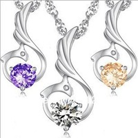 Free Shipping  New Arrival Luxury Simulated Diamond Phoenix Crystal Necklace Women JCK-260