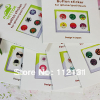 120pcs(20set) Cute home button sticker for iphone 4 4S, button sticker for iPad 2 3