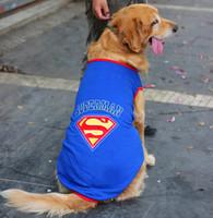 large dog clothes superman design big dog cosplay t shirt SZ 20-30 RED BLUE