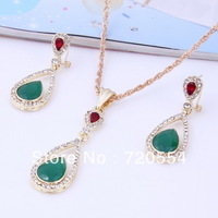Factory price new arrival 18k Gold Plated  fashion Jewelry Sets ,waterdrop Pendant Necklace &Earrings, Free Shipping