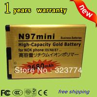 Free shipping New 2680mAh High Capacity Gold Standard Battery  For NOKIA N97MINI E5 E7 N8 702T T7